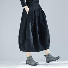 Осенне-зимняя женская длинная Вельветовая юбка размера плюс, Женская Однотонная юбка с высокой талией, Повседневная Свободная винтажная юбка-бутон в стиле Харадзюку