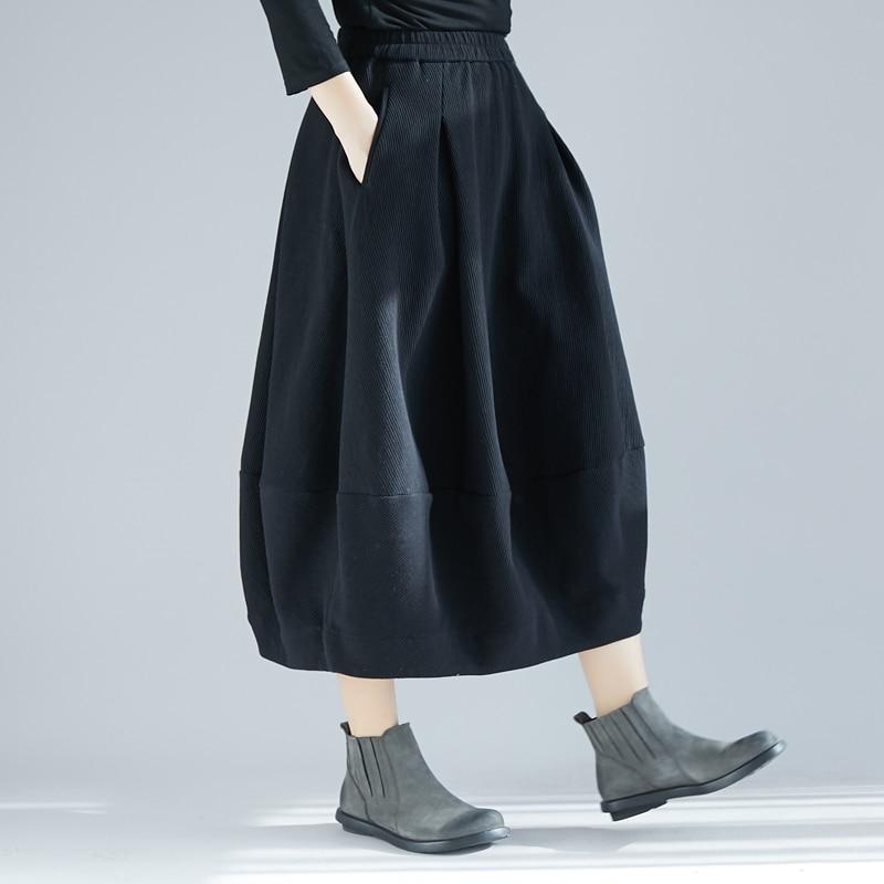 Plus Size Autumn Winter Women Long Corduroy Skirt Female High Waist Solid Color Harajuku Casual Loose Vintage Bud Skirt