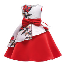 Girls Printed Rose Dress Elegant Baby Girls Dresses For Kids Clothes Wedding Party Princess Ball Gown Birthday Evening Dress