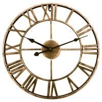 Retro Type Iron Art Wall Clock Watch Three dimensional Roman Numerals Silent Wall Clocks for Home Decor Retro Golden
