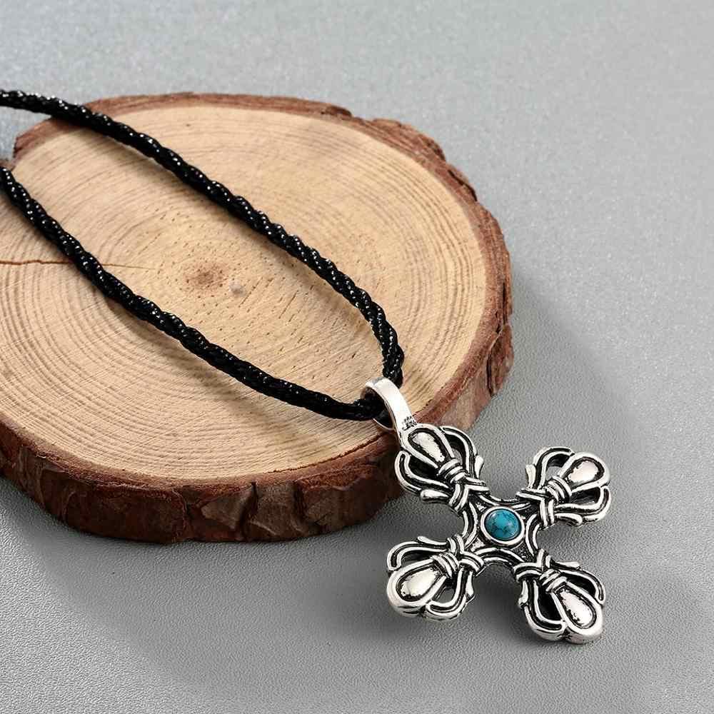 Chereda mężczyźni naszyjnik krzyż Norse Viking wisiorki i naszyjniki unikalne Punk mężczyzna etniczne liny naszyjniki biżuteria w stylu Vintage Frindy prezent