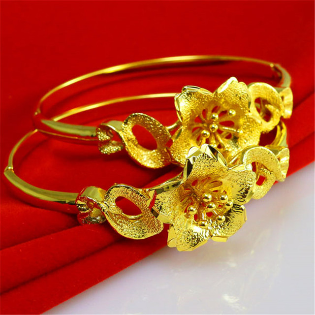fb8fc90c64f US $24.22 |Beautiful 24 K 1:1 Quality Hongkong Gold Shop Handmade Carved  Flower Bangles Cuff Bracelets Wedding Jewelry-in Bangles from Jewelry & ...