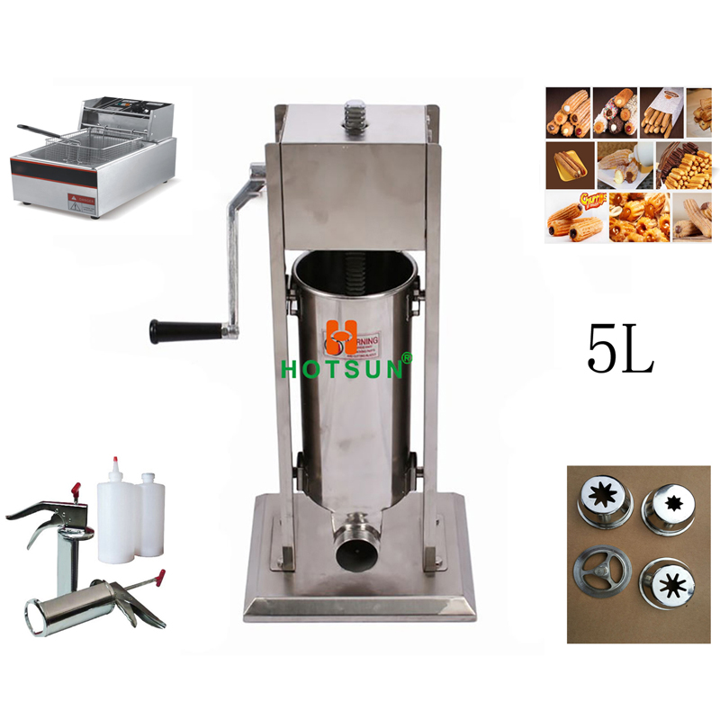 5L Manual Spanish Donut Churros Machine W 6L Deep Fryer N 700ml Filler free shipping commercial heavy duty 5l manual spanish donuts churreras churros maker machine w 12l fryer n 700ml filler