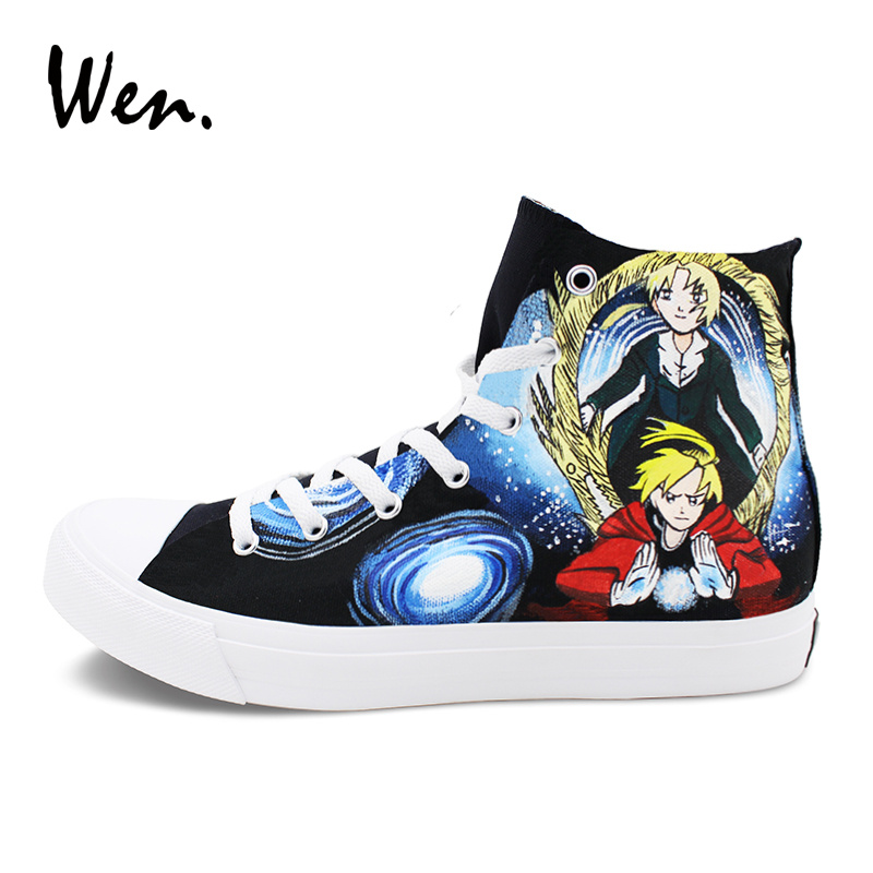 Wen Black Sneakers for Men High Top Anime Fullmetal Alchemist Hand Painted Canvas Shoes Women Plimsolls Lace up Big Size 46-49 wen hand painted athletic shoes design anime fullmetal alchemist unisex black canvas high top sneakers boy s skateboard trainers