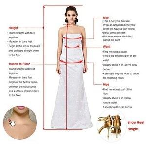 Image 5 - Junoesque Voan Cổ Chữ V Chữ A Váy áo đính hạt Hoa Thủ Công Táo Ảo Giác Lưng Đầm Cô Dâu Đầm Vestido de novia