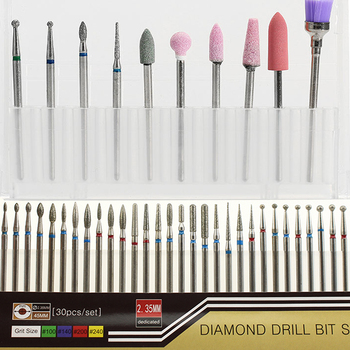 1 set Diamond Nail Drill Bit Milling Cutter Electric Nail Rotary Files Burr Manicure Machine Accessory Cuticle Clean Tools