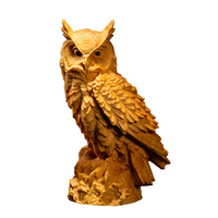 Solid Wood Owl Animal Sculpture Ornaments Carving Crafts Home Accessories Creative Wood Carving R547