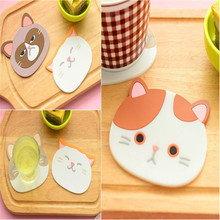 1 Piece Silicone Dining Table Placemat Coaster Cartoon Cat Animal Kitchen Accessories Mat Coffee Cup Bar