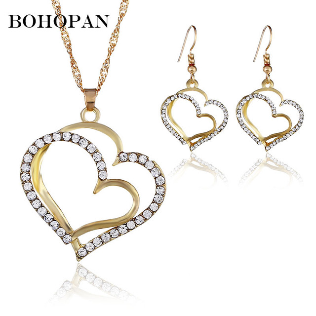 Gold Jewelry Set Double Love Heart Crystal Necklace&Earrings Wedding Fashion Jewelry For Women Party Elegant Lady Charm Sets