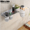Space aluminum Bathroom shelf hair dryer rack with 2 cups hair dryer rack Households Rack Hair Blow Dryer Holder