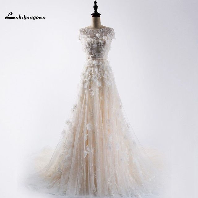 Vestido de noiva 2018 Modest Lace Wedding Dress Short Sleeves Sexy Back Lace Up Pearl Wedding Gowns Custom Made robe de mariage