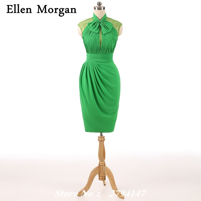 High Neck Cocktail Dresses For Party Lace Real Picture Knee Length Sheath Cap Sleeve Chiffon Green Short Sexy Elegant For Girls Cocktail Dresses