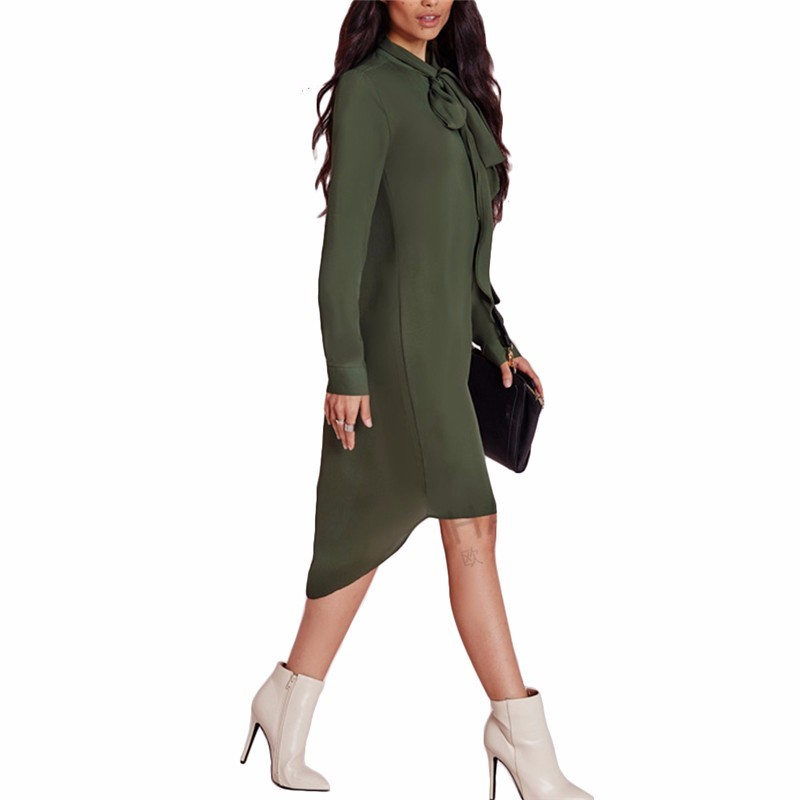Shirt Dress Style Casual Loose Women Bow Tie Chiffon Dress Autumn Long Sleeve Solid Dresses  Plus Size Clothes Overalls GV436