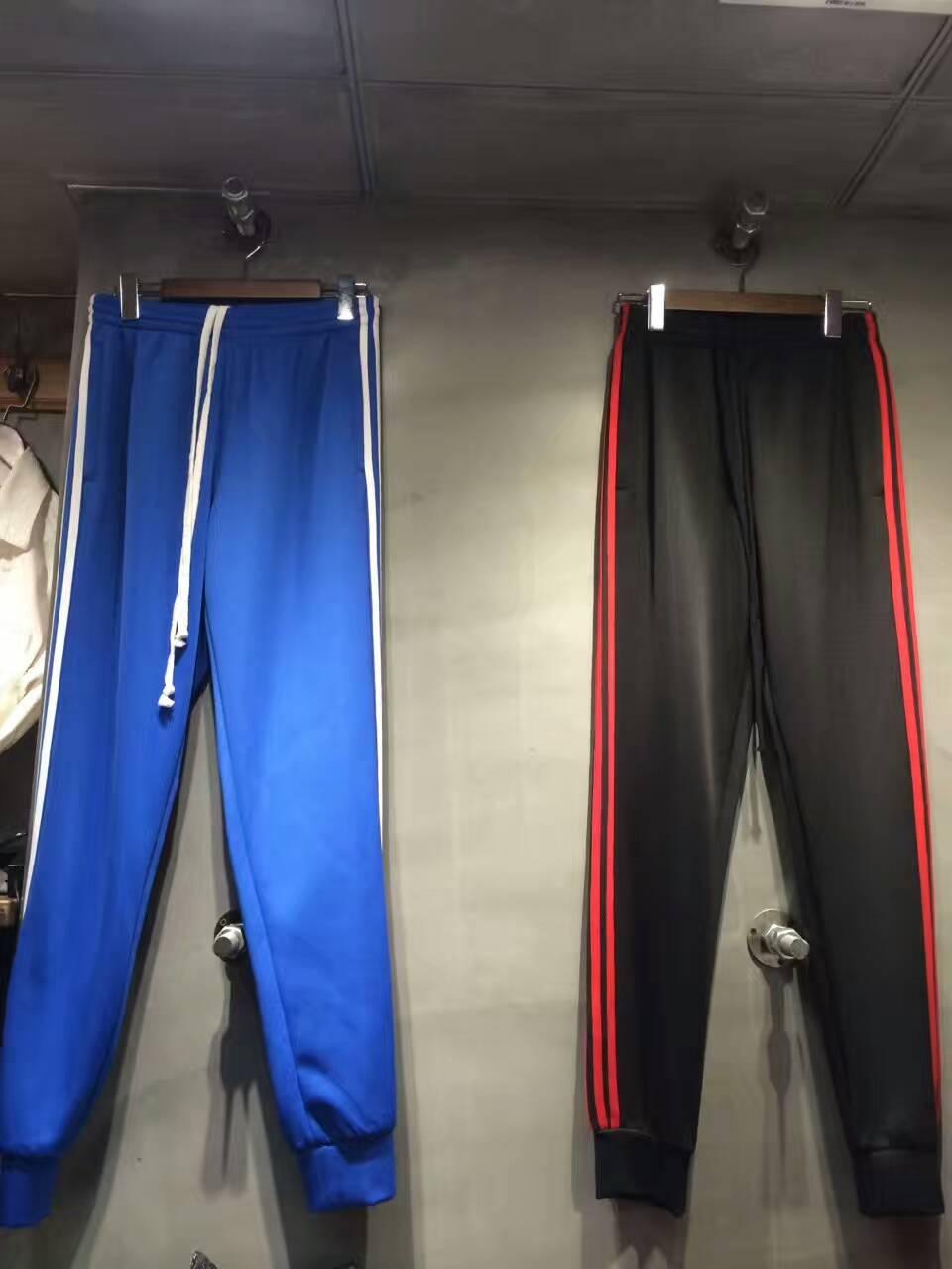 2017 новый джастин бибер hip hop мода карманные молния полосы брюки kanye west мужчин бегун трек штаны Черный красный синий белый