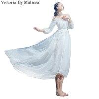 Hombro Off Gasa Del Cordón Del Ganchillo del verano Vestidos de Partido de Las Mujeres Vestidos Largos de Otoño Blanco Espalda Abierta Más El Tamaño de Punto Vestido Bordado