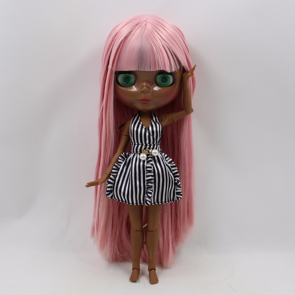 Neo Blythe Doll with Pink Hair, Black skin, Shiny Face & Jointed Body 2