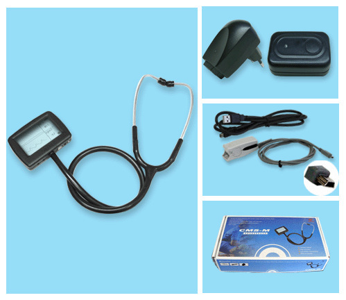 Digital Electronic Stethoscope+ Pulse oximeter function CMS-M with SPO2 PROBE best price multi function digital visual electronic stethoscope spo2 pulse oxygen saturation with ce approved cms m