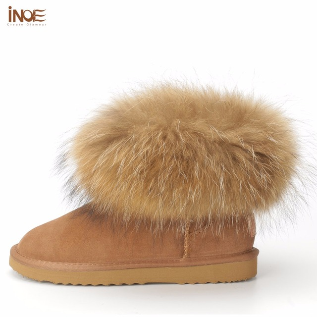 INOE fashion cow split leather big fox fur girls winter short ankle snow boots for women winter flats shoes black high quality