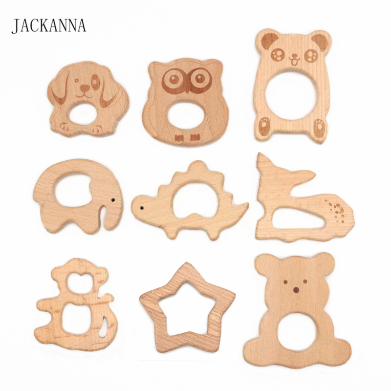 Cute Baby Teether Beech Wood Animal Wooden Teethers For Baby Chew Infant Kids Teething Toys Chewable Baby Products Newborn Gifts