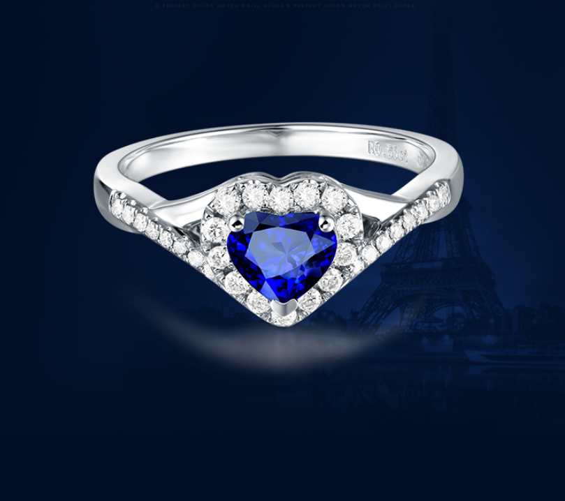 цена 1 carat 925 sterling silver tanzanite diamant ring heart shaped man made diamond wedding jewelry US size from 4.5 to9 (LA)