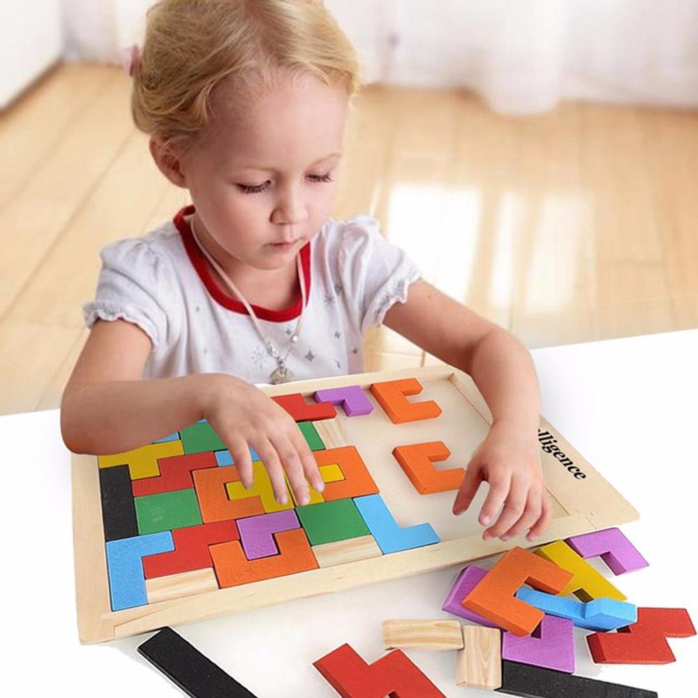 Multicolor Wood Tangram Brain Teaser Puzzle Игрушка Tetris - Игры и головоломки
