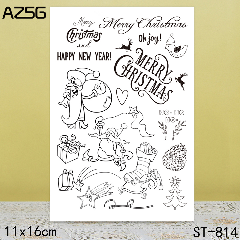 AZSG Santa Claus Clear Stamps Seals For DIY Scrapbooking Card Making Album Decorative Silicone Stamp Crafts in Stamps from Home Garden