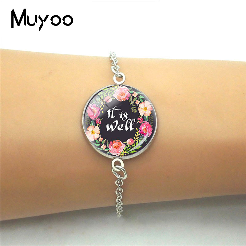 2019 It Is Well Bible Verse Quotes Glass Dome Bracelet for Women Gifts Fashion Color Bracelets Christian Jewelry for Girls image
