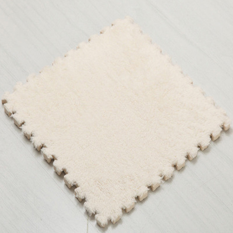 Ткань лохматый 30x30 см Коврик-головоломка пена бархатистый коврик EVA пена EVA домашняя пена коврик - Цвет: White