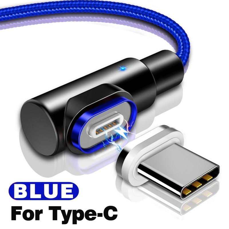 GETIHU 2.4A Быстрый Магнитный кабель для iPhone XS X XR 7 Micro USB быстрое зарядное устройство Тип C магнит Android шнур телефонный кабель для samsung - Цвет: For Type C Blue
