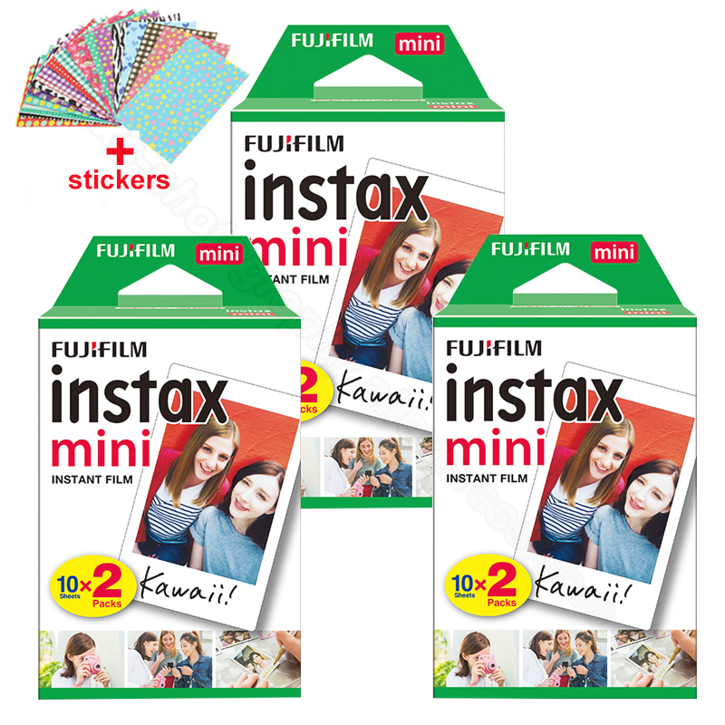 Original Fuji Fujifilm Instax Mini 8 Film 60 pcs White Edge Photo Papers For Polaroid 9 7s 8 90 25 55 Share SP-1 Instant Camera