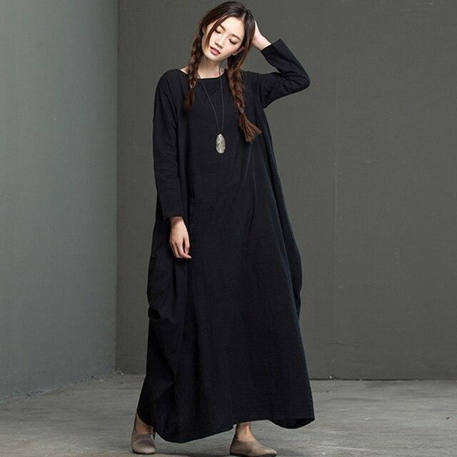 1d9690b3065b Femmes Robe Longue Coton et Lin O Cou Maxi Robe Vintage Robes Noir Blanc  Rouge Casual