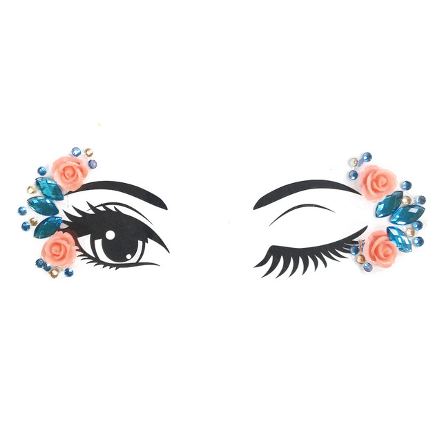 Temporary Rhinestone Glitter Tattoo Stickers Resin Face Jewels Gems Festival Party Makeup Body Jewels Flash Face Crystal Sticker