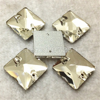 Crystal Clear Color Square Sew On Rhinestone Flatback 2 Holes Sewing Glass Crystal For Dress DIY