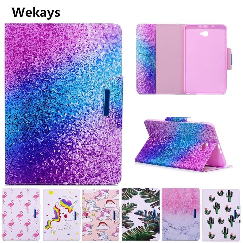 Wekays Case for Samsung Galaxy Tab A A6 10.1 2016 T585 T580 T580N T585N Cute Cartoon Flamingo Unicorn PU Flip Leather Cover Case