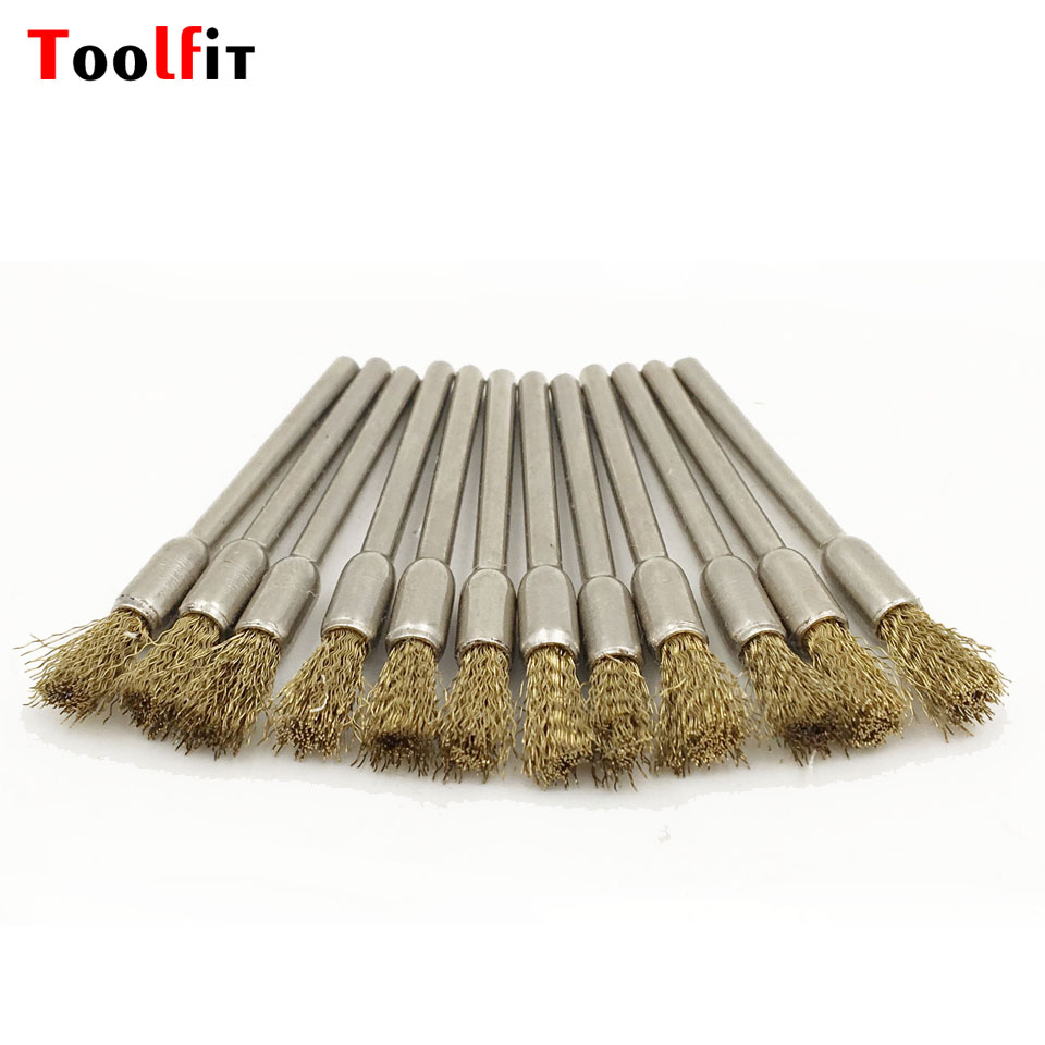 100pcs Brass Wire Wheel Brushes Die Grinder Rotary Tool Electric Tool For Dremel Accessories Abrasive Tools  Shank 3.0mm 16pc brass bristle wheel brushes for dremel accessories for rotary tools