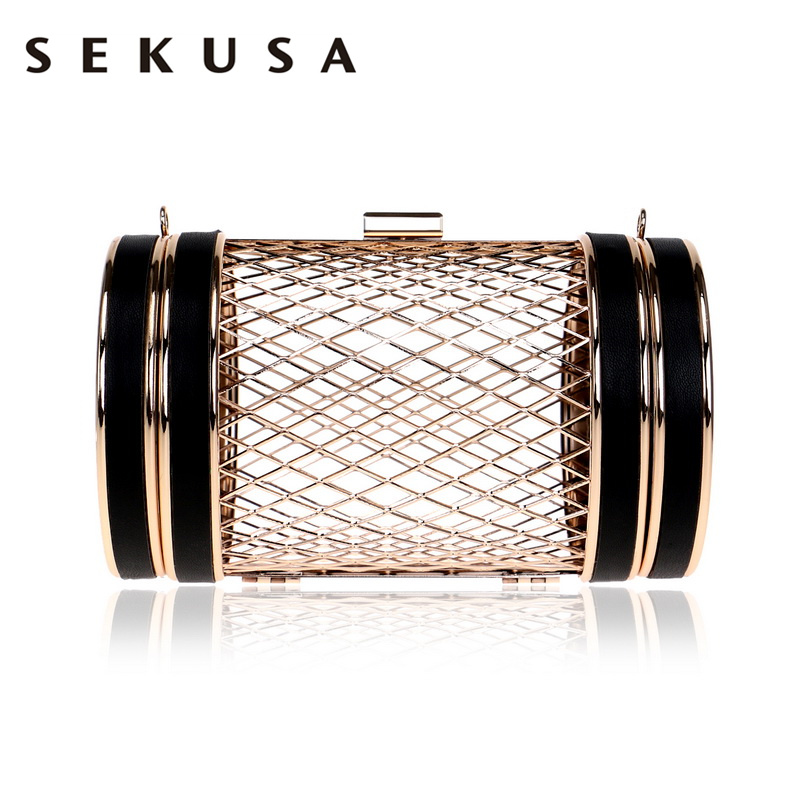 SEKUSA Fashion Women Hollow Out Design Day Clutches PU Chain Shoulder Handbags Wedding Party Evening Bag Leather Causel Purse hollow out string design u convex pouch pu leather boxer brief