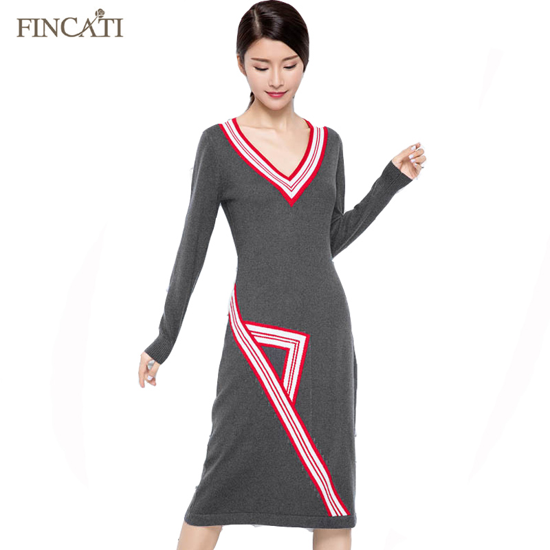 Women 2017 V Neck Color Strips Knitted Sweater Dress New Autumn Winter Long Geometric Design Cashmere Pullover Sweaters Vestidos