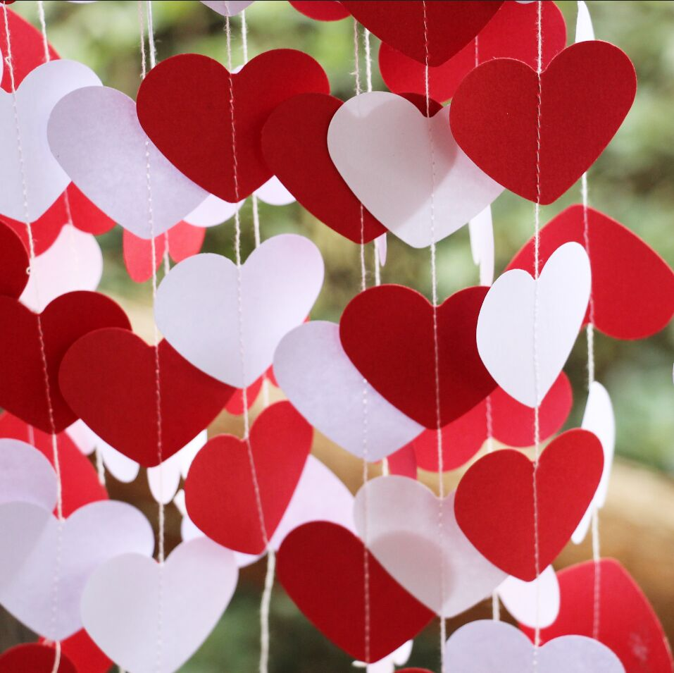 10pcs red white party decoration heart garland wedding for Heart decorations home