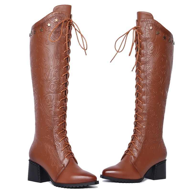 FACNDINLL 2017 mới thu đông dài ấm áp Giày da thật chính hãng Da Giày cao gót mũi nhọn Giày người phụ nữ Đảng thường đi giày 42