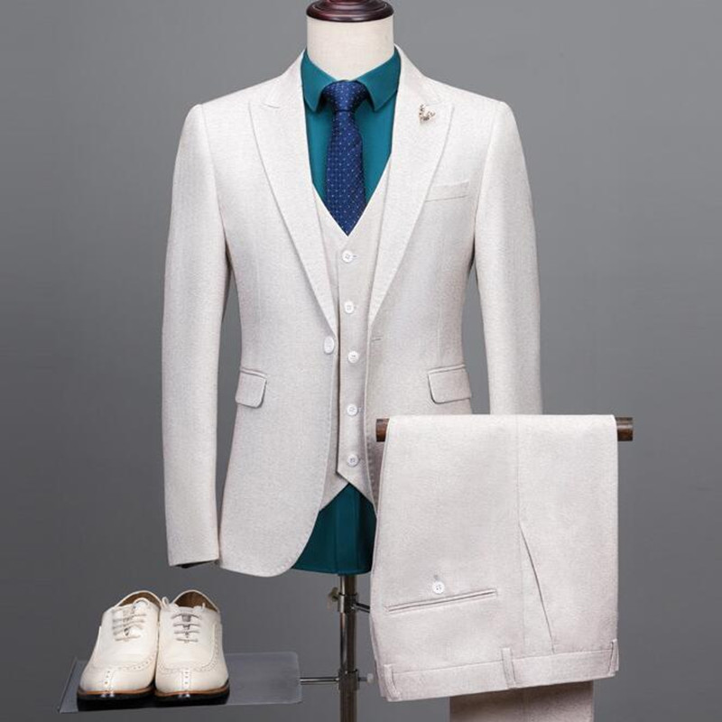Men's Beige Suit For Beach Wedding Slim Fit Groom Tuxedos White Prom Party 3 Piece Male Suit Jacket Vest Pants Free Shipping