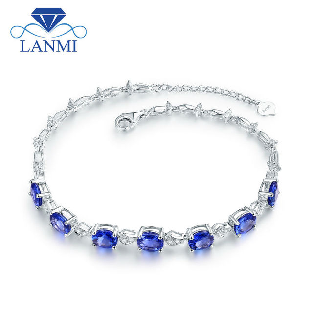 Luxury Design 5.8ct Natural Tanzanite  Wedding Bracelet Real 18Kt White Gold Diamond Fine Jewelry Genuine Gem for Women