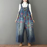 Women Vintage Washed Floral Printed Wide Leg Bib Blue Denim Overalls Jean Jumpsuits Female Large Size Drop Crotch Rompers Casual