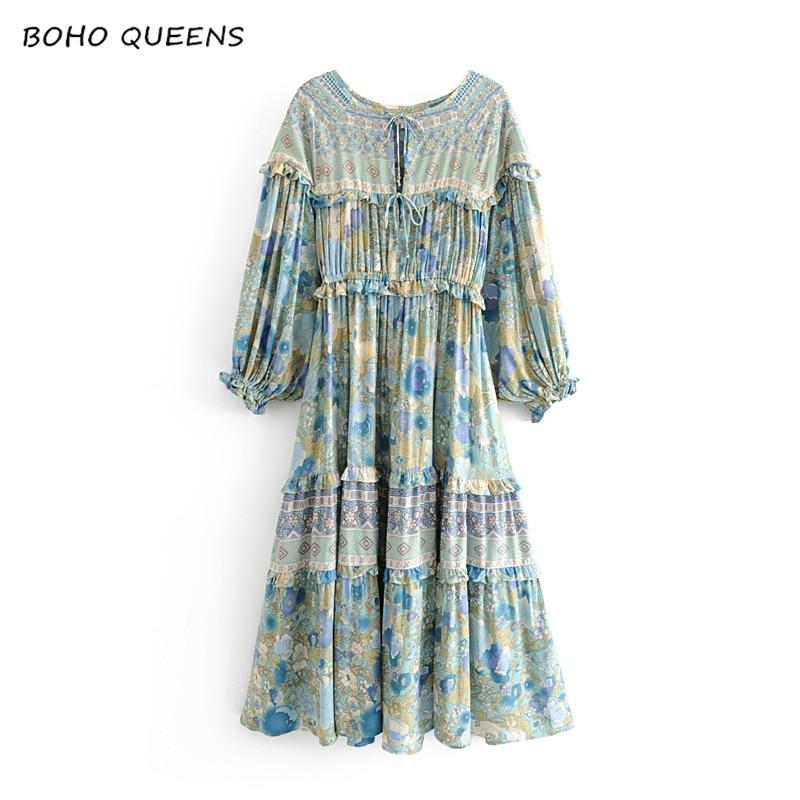 Vintage chic women floral print lace up tassel beach long Bohemian midi dress Ladies v neck