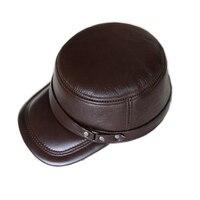 HARPPIHOP Genuine Leather Flat Peak military Cap Hip Hop Hats men's caps winter warm
