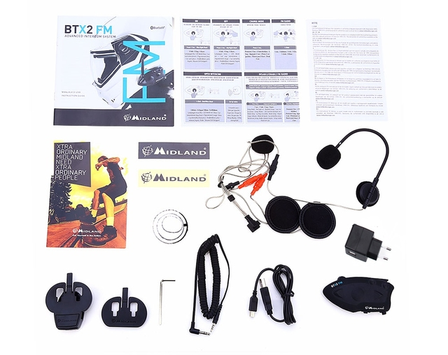 EU Plug MIDLAND BTX2 FM Motorcycle Bluetooth 3.0 Version Intercom 800M Single Multi-user Inter-phone Connect At Most 4 People