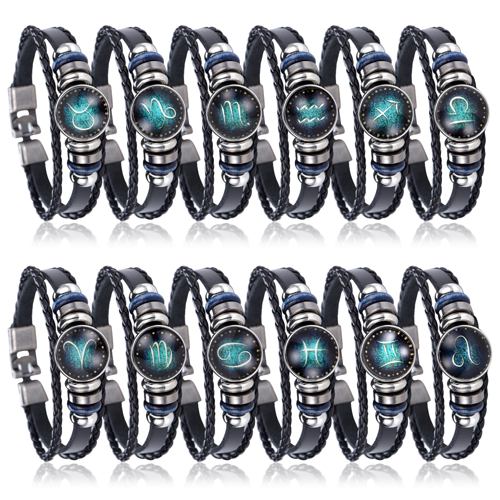 NEW DIY 12 Constellations Leather Zodiac charm Bracelet Jewellery Male Women Braid Rope Cortex punk Bracelet Jewelry DropShiping