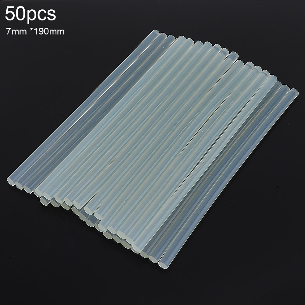 50pcs/set 7mm x190mm Transparent Hot-melt Gun Glue Sticks Gun Adhesive DIY Tools for Hot-melt Glue Gun Repair Alloy Accessories н уход за стеклянными поверхностями 0 75 л quot без спиртаquot rossinka