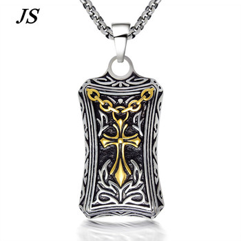 JS Male Steampunk Titanium Gold Crucifix Necklace Male Vintage Hip Hop Collares Largos Men Hippie Christian Cross Jewelry TN016 crucifixo pingente de ouro masculino