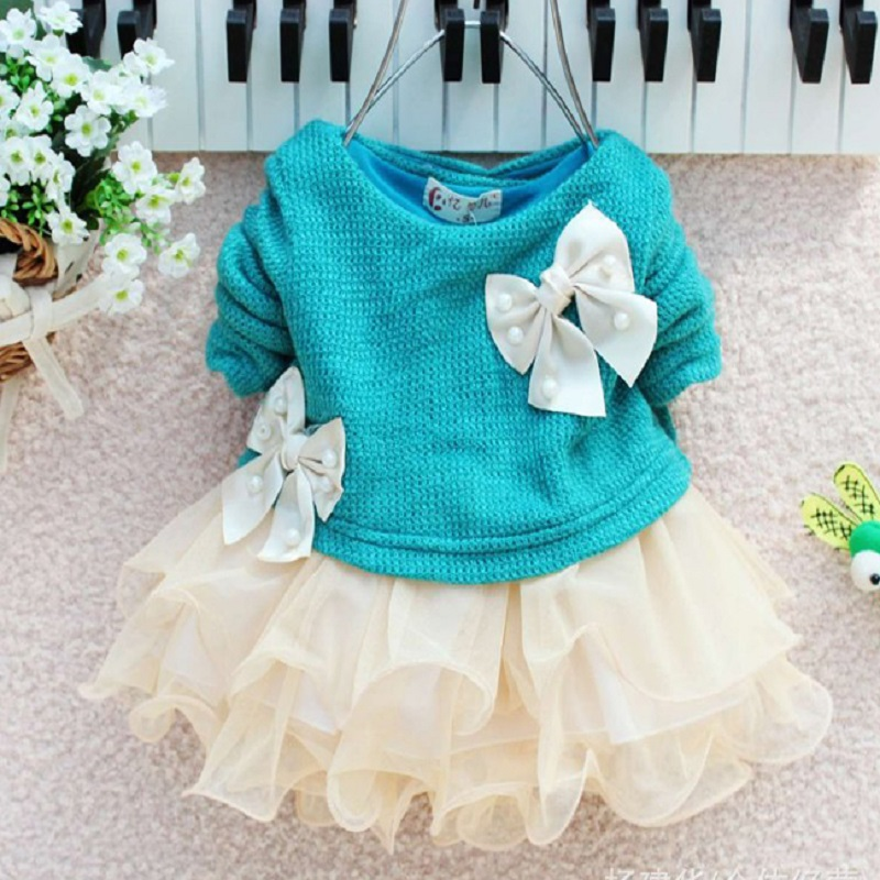 New Lovely Infant Toddler Baby Girl Dress Knittted Sweater Top Bow Tulle Tutu Dresses Outfit Princess Party Marry Autumn Costume 2015 new jacadi baby sweater dress yf01