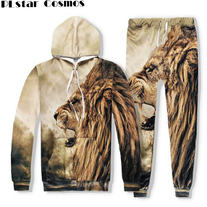 PLstar Cosmos free shipping 2017 Autumn lion hooded Sweatshirt Animal printed 3d hoodies Loose Casual hoodie+joggers pants Set